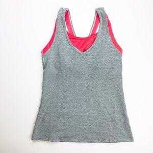 Lucy built in bra active running tank yoga gray